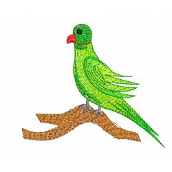 Green Parrot Machine Embroidery Design
