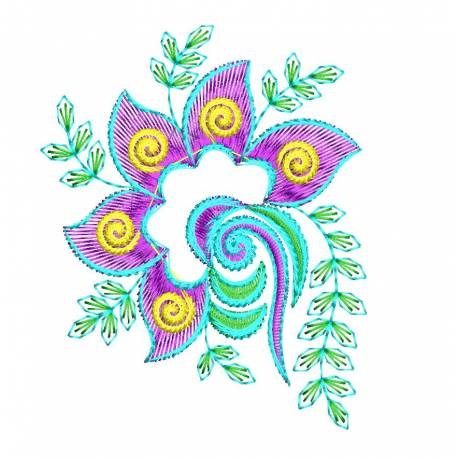 Purple & Green Flora Machine Embroidery