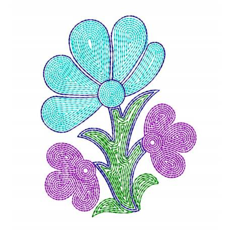 New Floral Outline Machine Embroidery