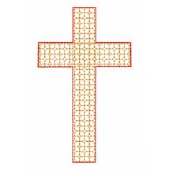 Block Motif Filled Cross Embroidery Design