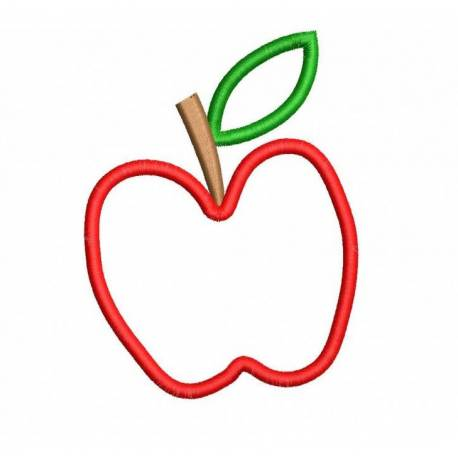 Apple Outline Machine Embroidery Design