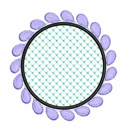 Circle Frame With Leaves Embroidery Design