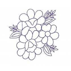 Latest Flower Flora Outline Embroidery Design