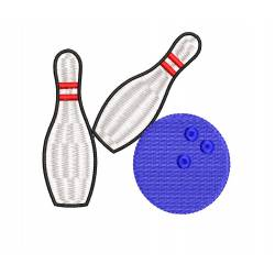 Bowling ball with Pins Embroidery Design
