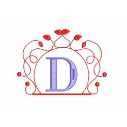 Alphabet D With Monogram Frame Embroidery