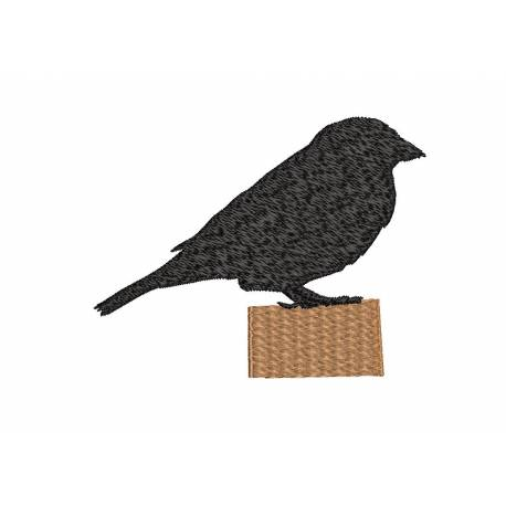 Sparrow Silhouette Embroidery Design