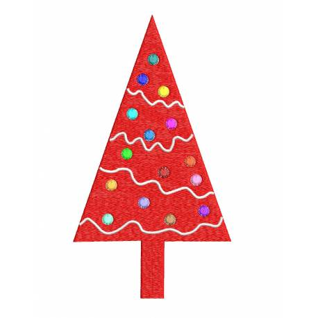 Red Christmas Tree Machine Embroidery