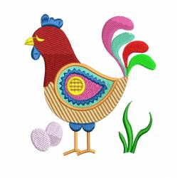 Cartoon Chicken With Eggs Embroidery Design