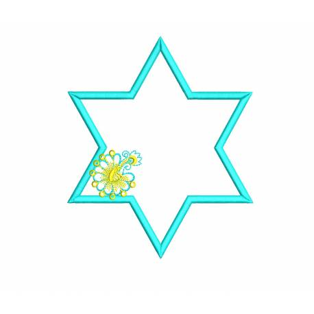 Star Frame Outline With Flora Embroidery Design