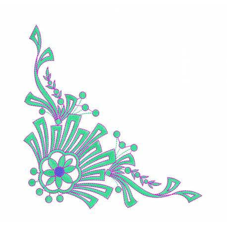 Large & New Corner Floral Machine Embroidery@