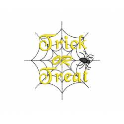 Trick Or Treat Text With Spider Machine Embroidery